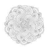 Graphic Mandala with waves and curles. Element of sea. Zentangle inspired style. Stock Photography
