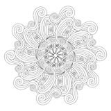 Graphic Mandala with waves and curles. Zentangle inspired style. Stock Photo