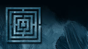 Graphic Maze Abstract Background. Graphic illustration of geometric maze on abstract background of textured brush strokes Royalty Free Stock Photo