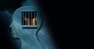 Free Graphic Mind With Butterfly Trapped Behind Prison Bars Background Stock Image - 157520781