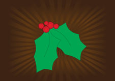 Graphic mistletoe on a brown background Royalty Free Stock Images