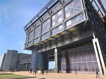 Graphic of modern building. Computer generated or 3D graphic of modern steel and glass building with pedestrians walking in front Royalty Free Stock Image