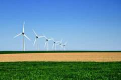 Graphic modern landscape of wind turbines Royalty Free Stock Photography