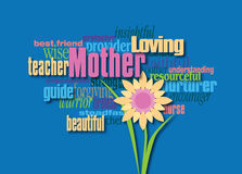 Graphic Mothers Day word montage with flower. Graphic composition of personality traits of a mother.  Art suitable for use as greeting card design or other Stock Images