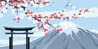 Graphic of Mount Fuji with Cherry Blossoms. Graphic Illustration of Mount Fuji with Cherry Blossoms and Traditional Gate in Foreground Stock Photos