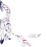 Graphic multicolor illustration of dreamcatcher. With beads and feather Stock Images