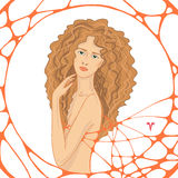 Graphic multicolor illustration with woman Royalty Free Stock Photos