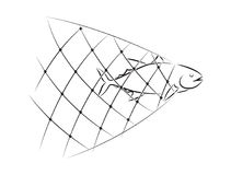 Graphic net fishing, vector. Illustration net fishing on white background Royalty Free Stock Image