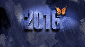 Graphic 2016 New Year's Butterfly Stock Photos
