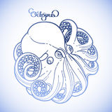 Graphic octopus in a circular shape Stock Images