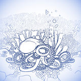 Graphic octopus and coral reef Stock Photos
