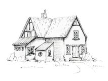 Graphic old house on lawn. Old house, cottage on lawn. Graphic hand drawn illustration Royalty Free Stock Images