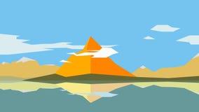 Graphic of orange mountain landscape with lake. Stock Photo
