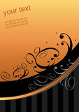 Graphic orange swoosh. Illustrated graphic of orange and black swirling lines and dots with space for your text Royalty Free Stock Photo