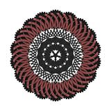 Graphic ornament on white background. 3d render tracery ornament with red and black patterns royalty free illustration