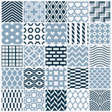 Graphic ornamental tiles collection, set of monochrome  re. Peated patterns. Vintage art abstract textures can be used as wallpapers Stock Photos
