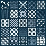 Graphic ornamental tiles collection, set of monochrome vector re. Peated patterns. Vintage art abstract textures can be used as wallpapers Stock Photo