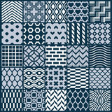Graphic ornamental tiles collection, set of monochrome vector re. Peated patterns. Vintage art abstract textures can be used as wallpapers Royalty Free Stock Photos