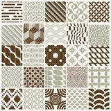 Graphic ornamental tiles collection, set of vector repeated patt. Erns. 25 vintage art abstract textures can be used as wallpapers Royalty Free Stock Photography