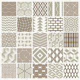 Graphic ornamental tiles collection, set of vector repeated patt. Erns. 25 vintage art abstract textures can be used as wallpapers Royalty Free Stock Photo