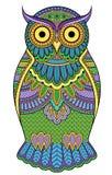 Graphic ornate multicolour owl Stock Image