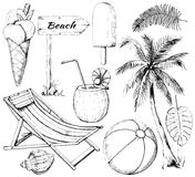 Graphic outline set with ten summer beach objects. Set with cocktail, two types of ice cream, signpost, seashell, ball, palm, twigs and lounger on white royalty free illustration