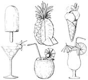 Graphic outline set with three cocktails, two types of ice cream. Set with three cocktails, two types of ice cream and pineapple on white background. Graphic stock illustration