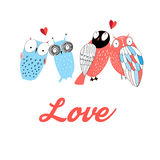 Graphic owl lovers. On white background Royalty Free Stock Photos