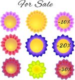 Graphic of paper flowers tags for spring discounts Stock Image