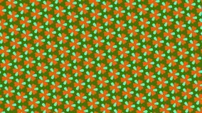 Graphic pattern that changes color as it rotates to the left, composed of drawings and shapes with colorful textures, in 16: 9