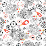 Graphic pattern of clouds and fish royalty free illustration