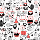 Graphic pattern with crockery for coffee and cakes royalty free illustration
