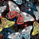 Graphic pattern fancy butterflies Stock Photo