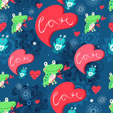 Graphic pattern with frog lovers Royalty Free Stock Images