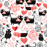 Graphic pattern of funny cats lovers. Beautiful seamless graphic pattern of funny cats lovers Royalty Free Stock Image