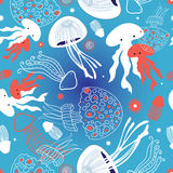Graphic pattern jellyfish Royalty Free Stock Image