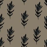 Graphic pattern with leafs. Yellow backgraund. Graphic pattern with leafs. Black and white leafs stock illustration
