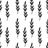Graphic pattern with leafs. Yellow backgraund. Black and white leafs stock illustration