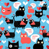 Graphic pattern with lovers cats Stock Images