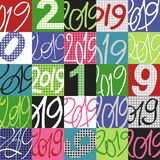 Graphic Pattern made with 2019 Signs patchwork vector illustration