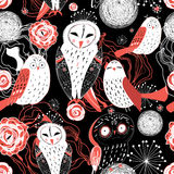 Graphic pattern owl Royalty Free Stock Image