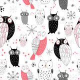 Graphic pattern of owls Stock Image