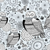 Graphic pattern of owls and butterflies Royalty Free Stock Photos