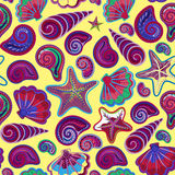 Graphic pattern with seashells, sea stars. Hand drawing. Seamless for fabric design, gift wrapping paper, printing. Stock Images