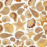 Graphic pattern with seashells, sea stars. Hand drawing. Seamless for fabric design, gift wrapping paper, printing. Royalty Free Stock Images