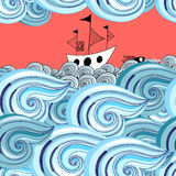 Graphic pattern of waves and ship Royalty Free Stock Photo