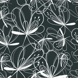 Graphic pattern of white flowers Stock Image