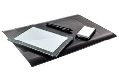 Graphic pen tablet, i-pad and phone. Graphic tablet  with pen, i-pad and phone above Stock Photo