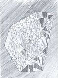 Graphic pencil drawing of diamond. As paint Stock Photography