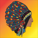 Graphic picture in profile North American Indian.  Royalty Free Stock Photography